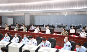 The Chinese vice premier, Han Zheng, also a member of the Standing Committee of the Political Bureau of the Communist Party of China Central Committee, watches the live broadcast of the Shenzhou-12 mission launch and extends warm greetings and congratulations to all members who participated in the mission at the Beijing Aerospace Control Center, in Beijing