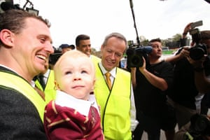The Opposition leader Bill Shorten meets 15 month old Queensland supporter Ethan Ricketts at a campaign event at Supply Partners, a solar and electrical distribution firm in the electorate of Oxley in Brisbane this morning, Wednesday 1st June 2016.