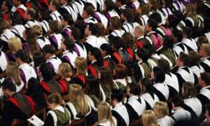 Students at a university graduation ceremony