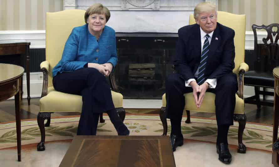 Angela Merkel and Donald Trump after he refused to shake her hand in the Oval Office on 17 March 2017.