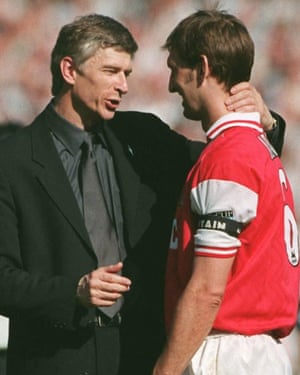 Arsène Wenger congratulates Tony Adams after Arsenal's FA Cup final win over Newcastle in 1998.