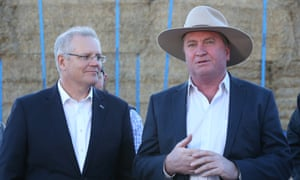 Scott Morrison with drought envoy Barnaby Joyce during a visit to a property outside Canberra September 2018