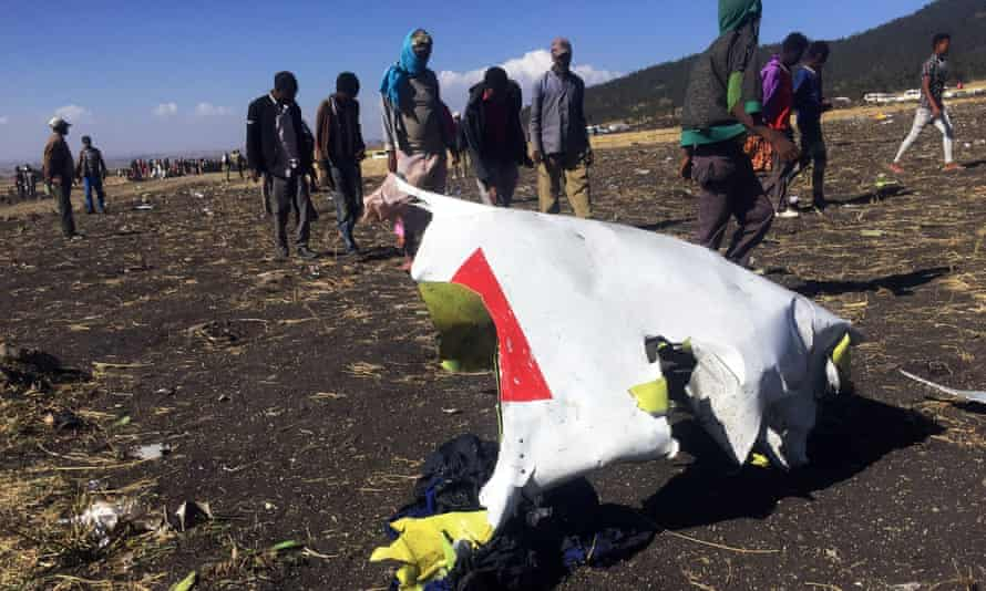 The scene of the crash near the town of Bishoftu, south-east of Addis Ababa