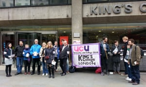 Members of the University and College Union (UCU) on a picket line at King's College London