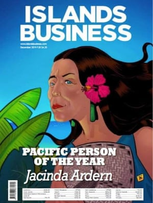Cover of Islands Business, featuring a graphic of New Zealand prime minister Jacinda Ardern