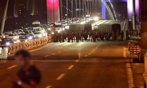 Turkish soldiers block Istanbul's Bosphorus Bridge in Istanbul.