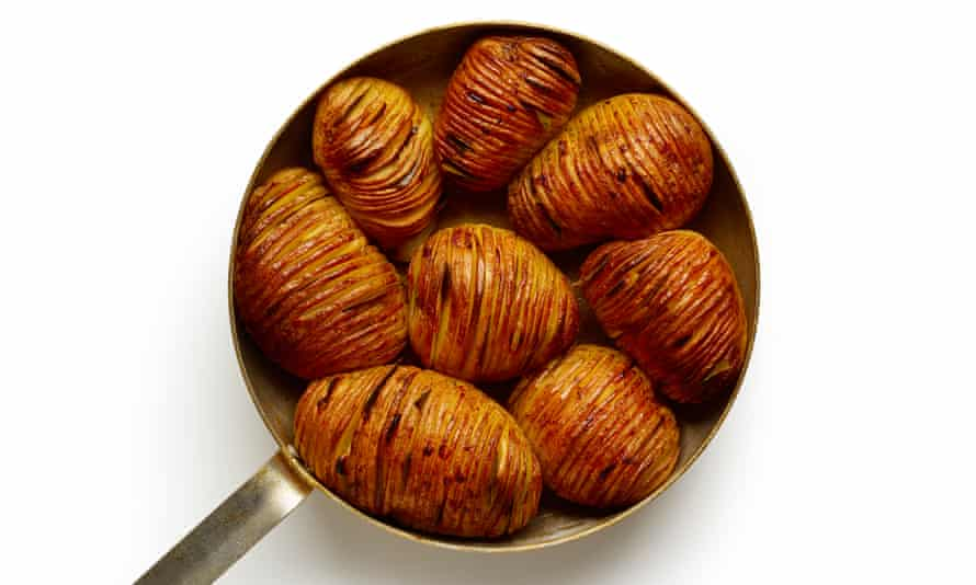 Hasselback potatoes – as seen in Felicity Cloake's recipe here.