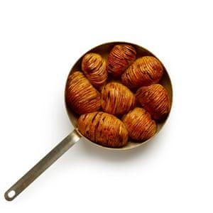Felicity Cloake's perfect hasselback potatoes.