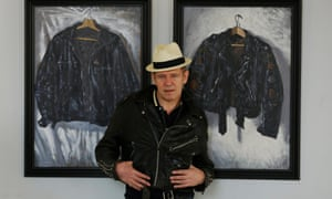 Musician and artist Paul Simonon poses with his artwork at the ICA (Institute of Contemporary Arts) gallery in London. The ICA has adopted the new .art internet suffix.