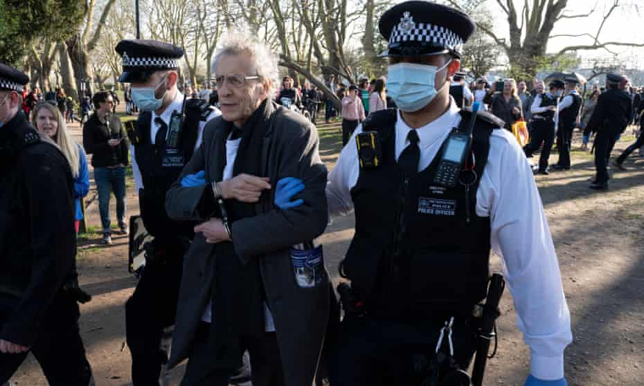 Piers Corbyn being arrested at an anti-lockdown protest in Fulham, west London, February 2021