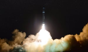 A photo released by the North Korean Central News Agency (KCNA) shows the launch of the newly developed inter-continental ballistic missile Hwasong-15 from an undisclosed location in North Korea on 29 November.