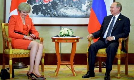 Theresa May and Vladimir Putin at the G20 summit in Hangzhou, China, in 2016