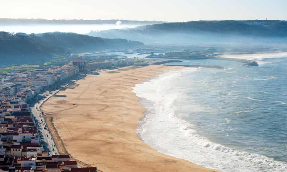 View on seaside village of new Nazare Portugal. Silver coast
