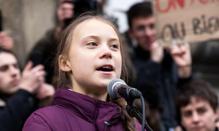 Greta Thunberg joins a climate protest ahead of Davos summit in January.