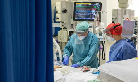 Inside the intensive care unit at University Hospital in Coventry, April 2020.