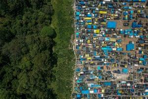 An aerial view of the giant 'Povos Sem Medo' (People Without Fear) occupation area in São Bernardo do Campo district, São Paulo