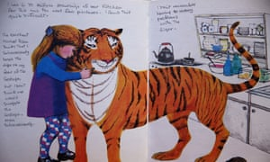 'I don't think one would snuggle the Gestapo – even subconsciously': one of the author's notes on a page from The Tiger Who Came to Tea