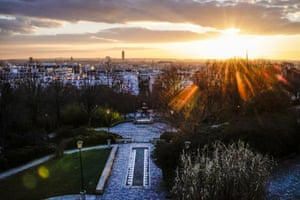 Areial view of the Belleville Park at sunset during curfew time in Paris, France, on 26 February 2021.