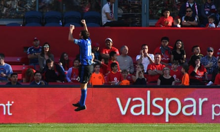Piatti jumps for joy after scoring his goal.