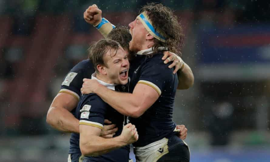 Scott Steele celebrates with Hamish Watson (right), who was exceptional for Scotland as they pulled off a remarkable win over the Six Nations champions.