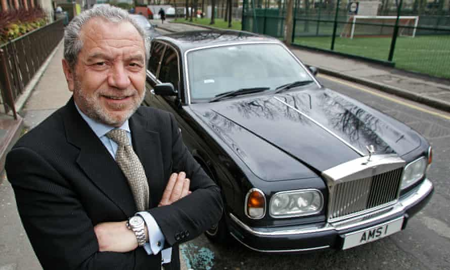 Alan Sugar with this AMS1 number plate.
