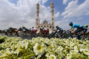 Cyclists on stage six of the 10th Tour of Oman, a 135.5km section from Al Mouj Muscat to Matrah Corniche
