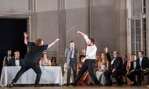 Allan Clayton (Hamlet) and David Butt Philip (Laertes) in Brett Dean's Hamlet.
