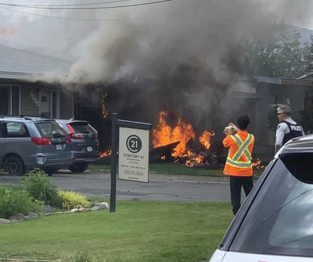 The scene of a crash involving a Canadian Forces Snowbirds airplane in Kamloops, Canada.