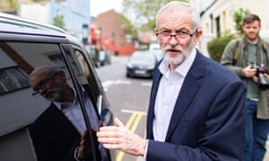 Jeremy Corbyn in London this morning.