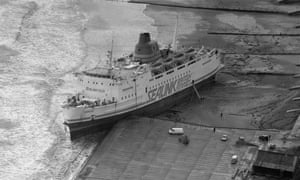 The Hengist, a Sealink passenger ferry, aground at Folkestone after the Great Storm in southern England, 17 October 1987