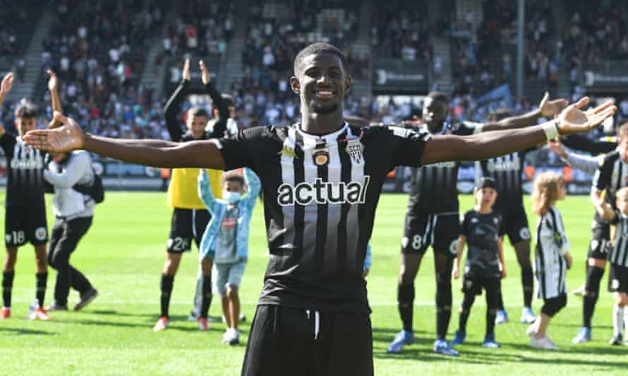 Angers forward Mohamed-Ali Cho celebrating the defeat of Rennes 2-0 last month.