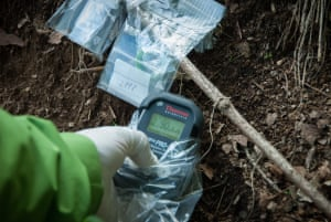 Greenpeace check for radiation contamination in Iitate district, Japan, July 2015.