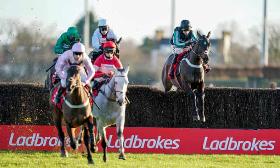 Altior and Nico de Boinville, furthest right, on their way to finishing second in Sunday's Desert Orchid Chase.