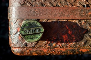 Detail of a rusty old Diamond T truck