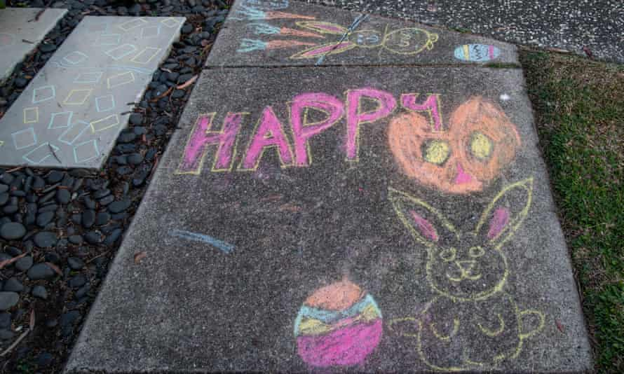 A happy graffiti on the ground during the Easter holiday.