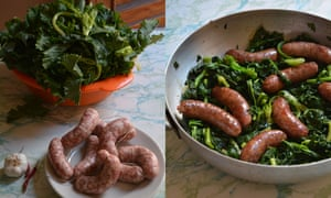 Sausages and greens