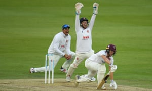Adam Wheater (centre) and Sir Alastair Cook of Essex (left) appeal successfully for the wicket of Tom Lammonby of Somerset.