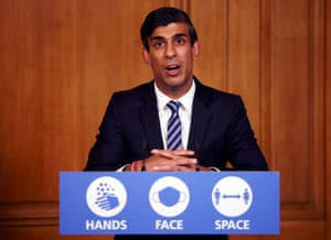 Britain's Chancellor of the Exchequer Rishi Sunak speaks during a virtual press conference on the novel coronavirus pandemic inside 10 Downing Street in central London.