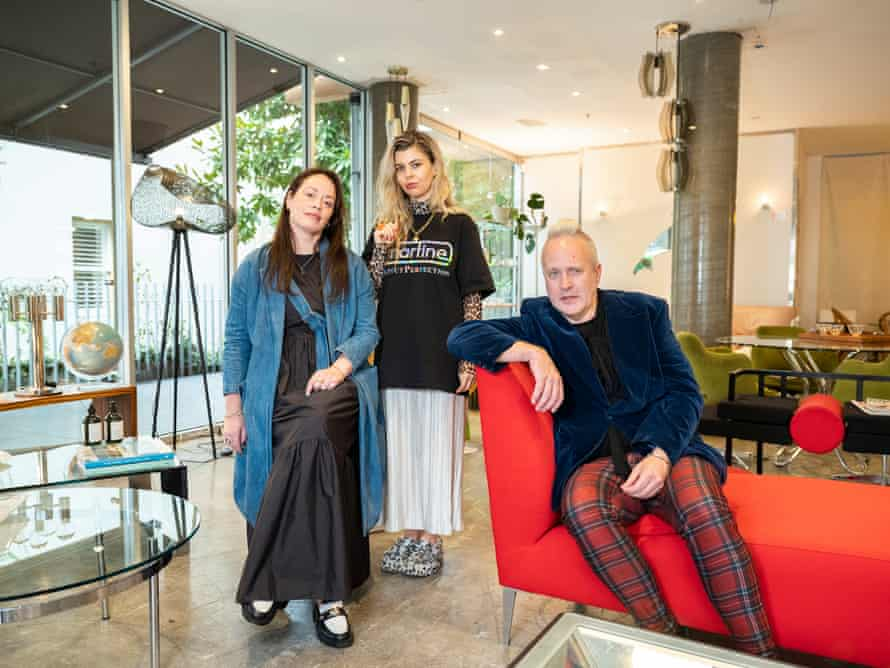 David Blakeley (right) with Corine Auzou (left) and Courtney Dewitt (centre) who are owners of vintage homewares and furniture store Domestic Fantasies