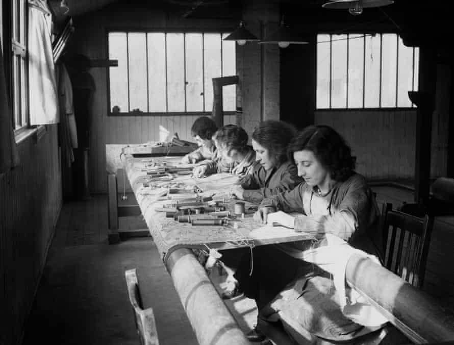 Embroiderers in the 1930s at the workshop begun by William Morris half a century before in Merton Abbey Mills, London.