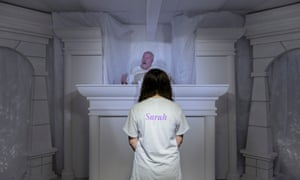 Central Baptist church's hell house in Houston, a character stands before God to hear whether or not they will be granted passage into heaven.