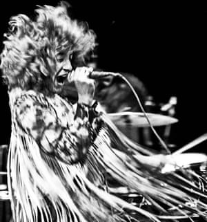 Roger Daltrey of the Who performing at Isle of Wight festival 1970.