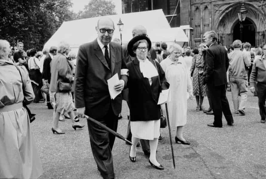 Philip Larkin and Monica Jones at the memorial service for Poet Laureate Sir John Betjeman at Westminster Abbey, London, in 1984.