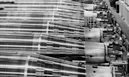 A line of Atlas missiles on an assembly line in San Diego, California, in 1963.