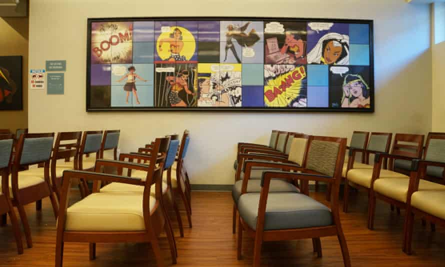 Artwork by feminist Linda Stein adorns the waiting room of Choices Women's Medical Center in the Jamaica neighborhood of Queens, New York.