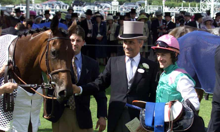 The pink, green and white silks of Khalid Abdullah (pictured in 2001) became a familiar part of British Flat racing in the 1980s.