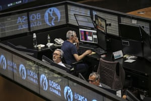 Traders at the Borsa Istanbul (BIST) stock exchange today