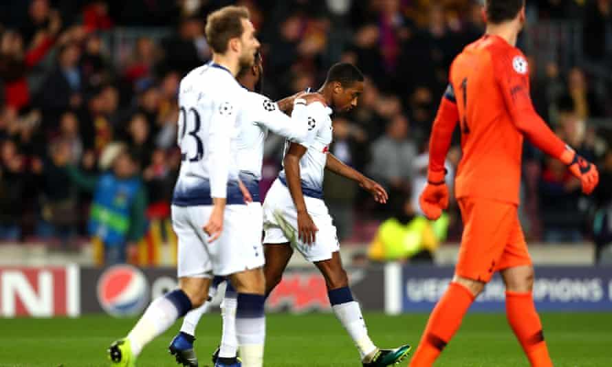 Kyle Walker-Peters, then of Tottenham, is consoled after Ousmane Dembélé scores for Barcelona in the Champions League.