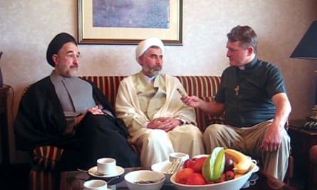 Father David Smith in 2009 with the former president of Iran, Syed Mohammad Katami (left), and Sheikh Mansour Leghaei, who was later wrongfully deported by Australian security services.