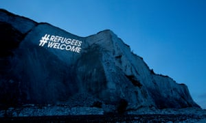 The message writ large on Dover's cliffs before a far-right rally, 2016.